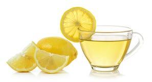 Glass of lemon tea on white background Royalty Free Stock Photography