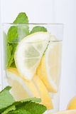 Glass of lemon water Royalty Free Stock Photography