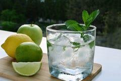 Glass of lemon water refreshment Stock Image
