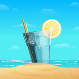 Glass with lemonad on sea background stock images