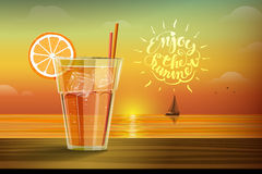 Glass with lemonad at sunset. Cold drink with ice and slice of orange on the glass on the sunset background and boat with sails on the horizon. Enjoy the summer royalty free illustration
