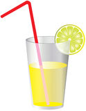 Glass of lemonade. A vector illustration of lemonade in a glass with red straw and lime Royalty Free Illustration