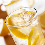 Glass of lemonade closeup Royalty Free Stock Image