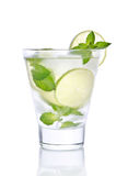 Glass with lemonade, ice, mint and lime Royalty Free Stock Photography