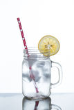 Glass of lemonade and ice Royalty Free Stock Photo