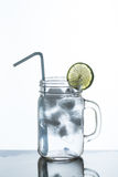 Glass of lemonade and ice Royalty Free Stock Photos