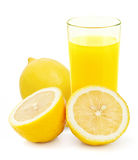 Glass of lemonade isolated on white Royalty Free Stock Photography