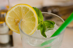 The glass with lemonade, lemon, leaf of mint and ice cubes Royalty Free Stock Image