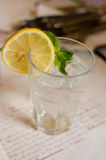 The glass with lemonade, lemon, leaf of mint and ice cubes Stock Photo