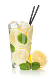 Glass of lemonade with lemon and mint Stock Images