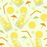Glass with lemonADE_pattern. Seamless pattern glass of lemonade. Glass of lemon cocktail with straw. Vector illustration stock illustration