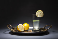 Glass of lemonade on silver tray with golden handles Stock Photography