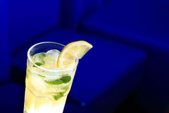Glass of lemonade with the slice of lemon and mint Stock Image