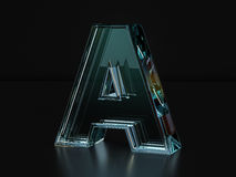 Glass letter A Stock Photos