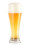 Glass of light beer. Complete glass of light beer without matt cover and drops Royalty Free Stock Images