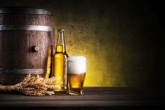 Glass of light beer with foam Stock Photos