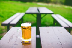 Glass of light beer with foam on a wooden table. Garden party. Natural background. Alcohol. Draft beer. Stock Photography