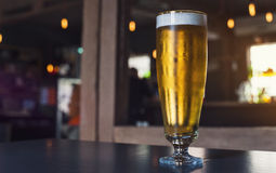 Glass of light beer on a pub. Glass of light beer on a dark pub Stock Photo