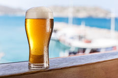 Glass of light beer on the  seaside bar counter. Stock Photography