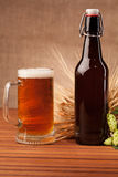 Glass of light beer and spikes of barley Stock Photography