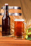 Glass of light beer and spikes of barley Royalty Free Stock Photography