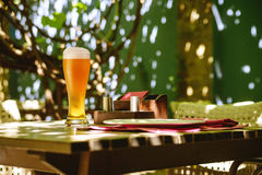 Glass of light beer stock photos