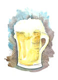 Glass of light beer. Watercolor illustration glass of light beer Stock Photos