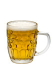 Glass of light beer on a white background. Glass of beer on a white background stock photo