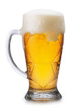 Glass of light beer  on white Stock Photos