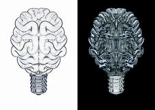Glass light bulb brain. 3D illustration of brain shaped light bulb Stock Images