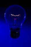 Glass light bulb with burning filament upright. With bright blue background Stock Image