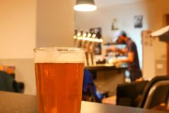 Glass of light orange juicy craft beer in a craft bar pub. With a background with shiny beer taps and young male bearded bartender Stock Images