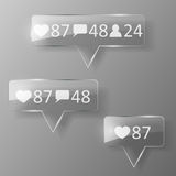 Glass like, follower, comment icons. Royalty Free Stock Image
