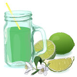 Glass with lime juice. Fresh lime. stock illustration