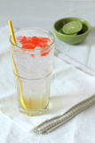 Glass of lime soda drinks with red jelly Stock Photo