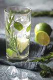 Glass of lime water with herbs royalty free stock photos