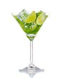 glass limefruktmint för coctail arkivfoto