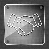 Glass linear handshake icon. On a white background Royalty Free Stock Photography