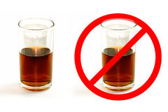Glass of liquor and stop Glass of liquor isolate on white background Royalty Free Stock Image