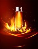 Glass liten medicinflaska för vektor på en mörk bakgrund i flammor och rök Eleme Arkivfoto