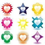 Glass Love buttons. Colorful heart shaped glass buttons (JPG); a  version is also available Stock Photos