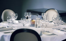 Glass on luxury table Stock Photo