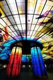 Glass mästerverk på taket av den Meilidao stationen i Kaohsiung, Taiwan Royaltyfria Foton