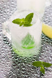 Glass made of ice with vodka, lemon and mint Stock Images
