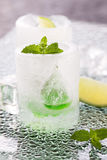 Glass made of ice with vodka, lemon and mint Royalty Free Stock Photography