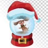 Glass magisk boll för jul med en hund En genomskinlig glass boll med en santa hatt också vektor för coreldrawillustration royaltyfri illustrationer