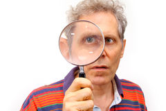 glass magnifying man Στοκ φωτογραφίες με δικαίωμα ελεύθερης χρήσης
