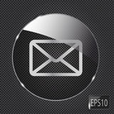 Glass mail button icon on metal background. Vector Stock Photos