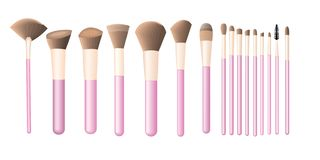 Glass with makeup brushes stock illustration