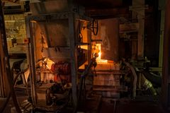 Glass making furnace in bottles factory. Tyumen Royalty Free Stock Photography